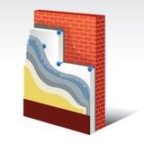 Schema stratificato dell'isolamento termico del polistirolo illustrazione vettoriale
