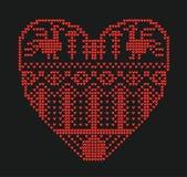 Schemalägga för att sticka, geometrisk mall med stiliserad hjärta i lantlig stil Vektortecknad film för broderi som sticker arkivbilder