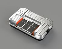 Schemamening van het pak van de elektrisch voertuigbatterij op grijze achtergrond Royalty-vrije Stock Afbeeldingen