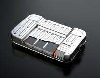 Schemamening van het pak van de elektrisch voertuigbatterij op zwarte achtergrond Royalty-vrije Stock Afbeeldingen