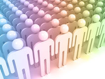 Schematic colorful abstract people standing. In an array. Crowd concept digital 3d illustration Stock Image