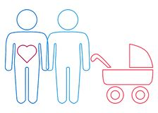 A schematic depiction of a family couple of gay men with children. Icon vector illustration