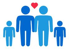 A schematic depiction of a family couple of gay men with children. Icon stock illustration