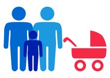 A schematic depiction of a family couple of gay men with children. Icon royalty free illustration