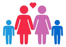 A schematic depiction of a family couple of lesbian women with children. Icon royalty free illustration