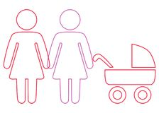 A schematic depiction of a family couple of lesbian women with children. Icon stock illustration