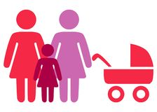 A schematic depiction of a family couple of lesbian women with children. Icon vector illustration