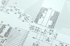 Schematic diagram closeup photo Royalty Free Stock Photography