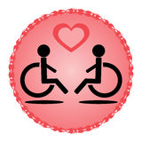 Schematic disabled loving couple in a wheelchair Stock Photos