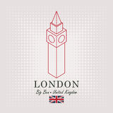 Schematic drawing of the big ben and english flag Stock Images