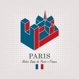 Schematic drawing of the notre dame de paris Stock Photo