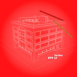 Schematic four flour house on red background stock illustration