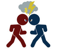 Schematic image of confrontation. Vector schematic image of confrontation. two arguing people, isolated objects, color illustration Royalty Free Stock Photo