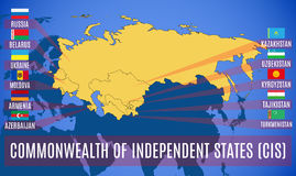 Schematic map of the Commonwealth of Independent States CIS. Royalty Free Stock Image