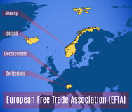 Schematic map of the European free trade Association EFTA. Vector illustration Royalty Free Stock Image