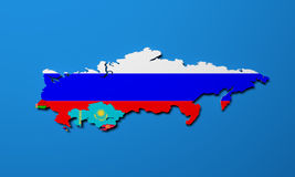 Schematic map of the member states of Eurasian Economic Union E. AU National flags Russia Belarus Kazakhstan and Armenia on blue background 3d Stock Photos