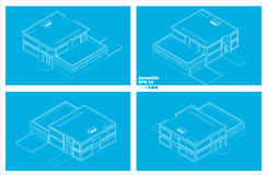 Schematic modern two floor house Royalty Free Stock Images