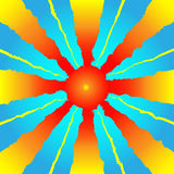 Schematic sun with rays against blue sky vector Royalty Free Stock Photos