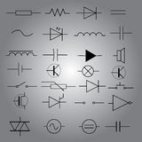 Schematic symbols in electrical engineering icon set eps10 Stock Image