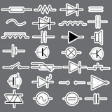 Schematic symbols in electrical engineering stickers eps10 Royalty Free Stock Photography