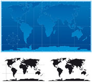 Schematic World. Schematic ial world map in blue tone Royalty Free Stock Photos