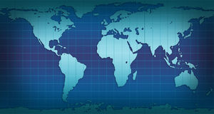 Schematical world map. In blue and cyan colors Royalty Free Stock Photography