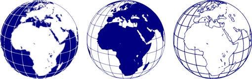 Schematisch beeld van de oostelijke hemisfeer van de aarde stock illustratie