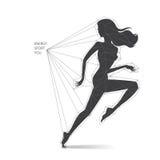 Schematisch lopend vrouwensilhouet stock illustratie