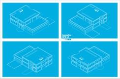 Schematisch modern twee vloerhuis Royalty-vrije Stock Afbeeldingen
