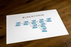 Schematische Druckillustration von blockchain auf Schreibtisch Lizenzfreies Stockfoto