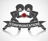 Schematisk bild av konfrontation Arkivfoton