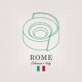 Schematisk teckning av coliseumen och den italienska flaggan vektor illustrationer