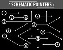 Schematiska pekare Förlängningslinjer som indikerar detaljerna av teckningarna och diagrammen Beståndsdelarna av den grafiska des Stock Illustrationer