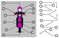 Schematiska pekare Förlängningslinjer som indikerar detaljerna av teckningarna och diagrammen Beståndsdelarna av den grafiska des Vektor Illustrationer