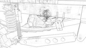 Schematyczni podwozia wielki SUV z kołem jadą Ruszać się kamerę wzdłuż modela między piędź royalty ilustracja