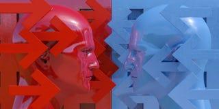 Schematyczny wizerunek konfrontacja obraz royalty free