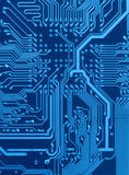 Scheme of circuit board. Dark blue circuit board scheme with conductors and solder Royalty Free Stock Image