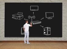 Scheme computer network. Businessman standing and drawing scheme computer network Royalty Free Stock Image