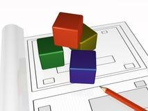 Scheme and cubes Stock Photos