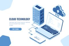 The scheme of data transmission, isometric secure connection, cloud computing, server room, datacenter and database. Laptop with mobile phone, vector blue vector illustration