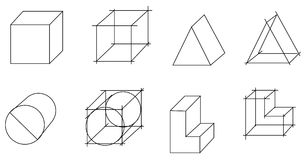Scheme of geometrical objects Stock Images
