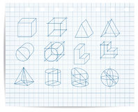 Scheme of geometrical objects on copybook paper  Stock Photography