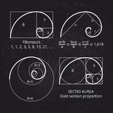 Scheme of golden ratio section, fibonacci spiral on blackboard vector illustration. Geometric harmony, spiral line stock illustration