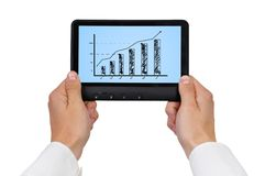 Scheme growth profits. On digital tablet Royalty Free Stock Images