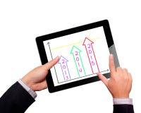 Scheme growth profits on touchpad Stock Photo