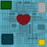 Scheme with heart. Vector illustration of a circuit in the middle of which the heart Stock Image