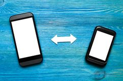 Mobile phones synchronization. Incoming and outgoing calls. Data backup. The scheme of interaction of mobile phones. Incoming and outgoing calls. Data exchange Stock Image