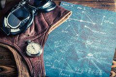 Scheme of the kite, cap and aviator glasses Royalty Free Stock Photos