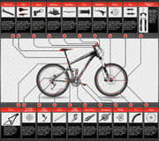 Scheme of mountain bike. Very elaborated scheme of mountain bike, with parts Royalty Free Stock Image