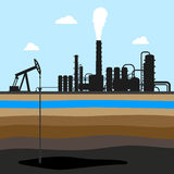 Scheme of oil production . industrial background. oil field. On the image is presented scheme of oil production . industrial background. oil field royalty free illustration